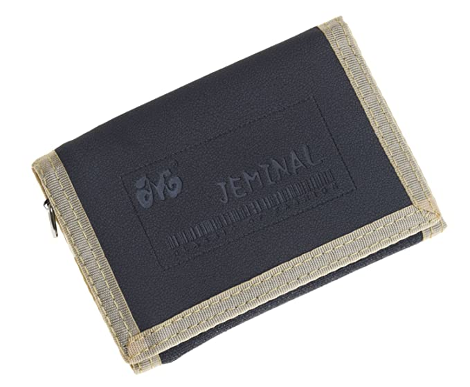 f5f1f7f536bd JEMINAL New Mens Black Canvas Trifold Wallets Purse at Amazon Men s ...