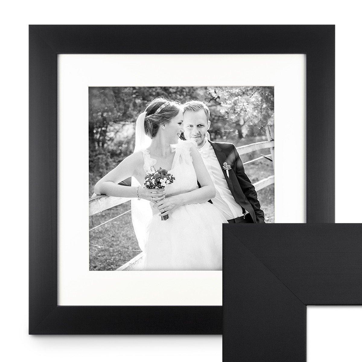 PHOTOLINI Bilderrahmen 50x50 cm Schwarz Modern Breit aus MDF mit Passepartout u. Glasscheibe Fotorahmen Galerierahmen