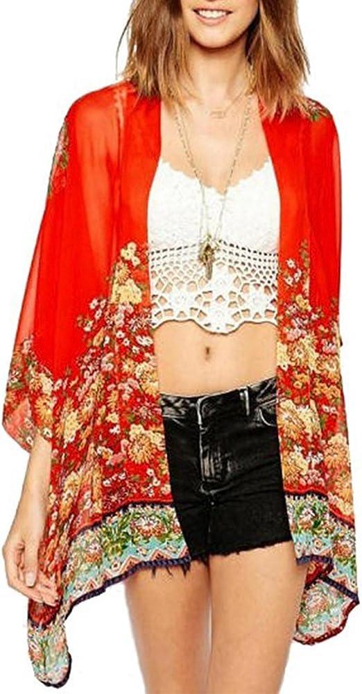 Zantec Blusa de moda, con color rojo estampada con flores, para verano, Las Womenes de moda retro impreso rebeca medias batwing manga gasa blusa Tops: Amazon.es: Ropa y accesorios