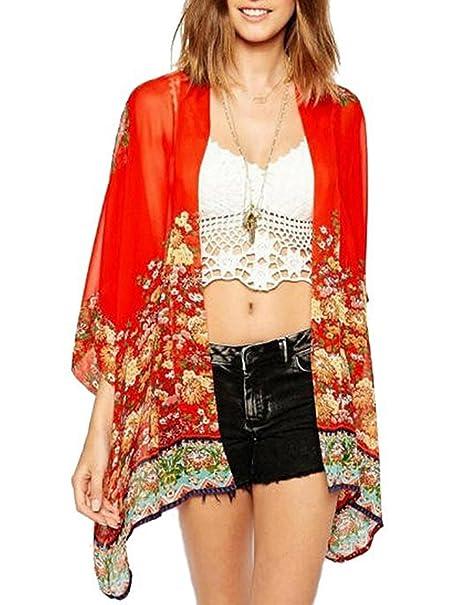 Zantec Blusa de moda, con color rojo estampada con flores, para verano, Las Womenes de moda retro impreso rebeca medias batwing manga gasa blusa Tops: ...
