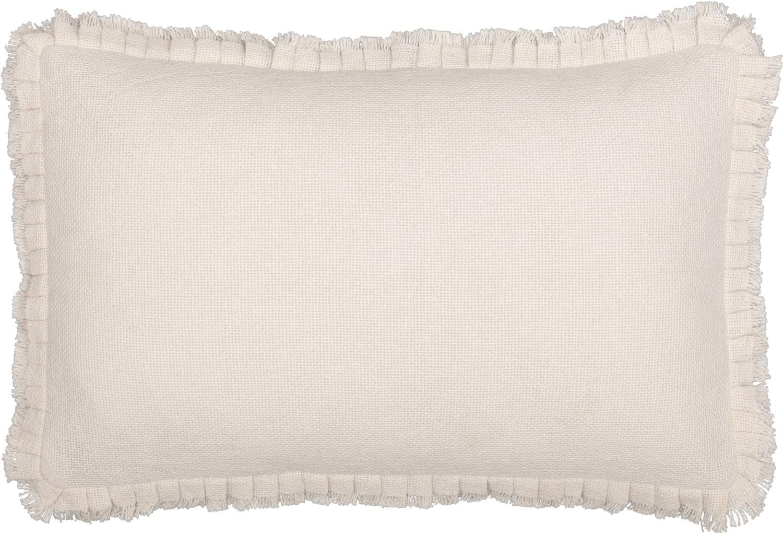 VHC Brands Farmhouse Bedding Natural Cotton Burlap Solid Color Rectangle Cover Insert Pillow, Antique White