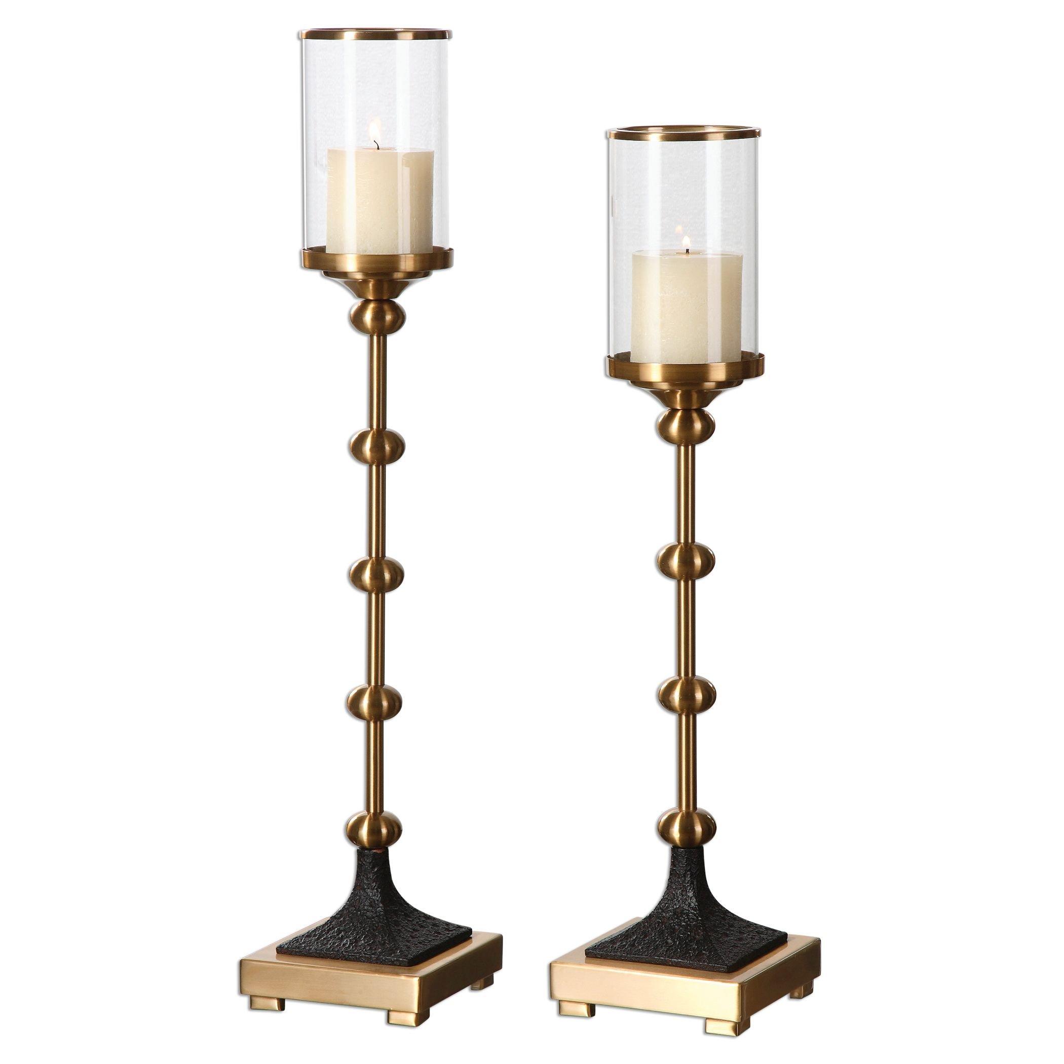 Brushed Brass Candle Holder - Set of 2