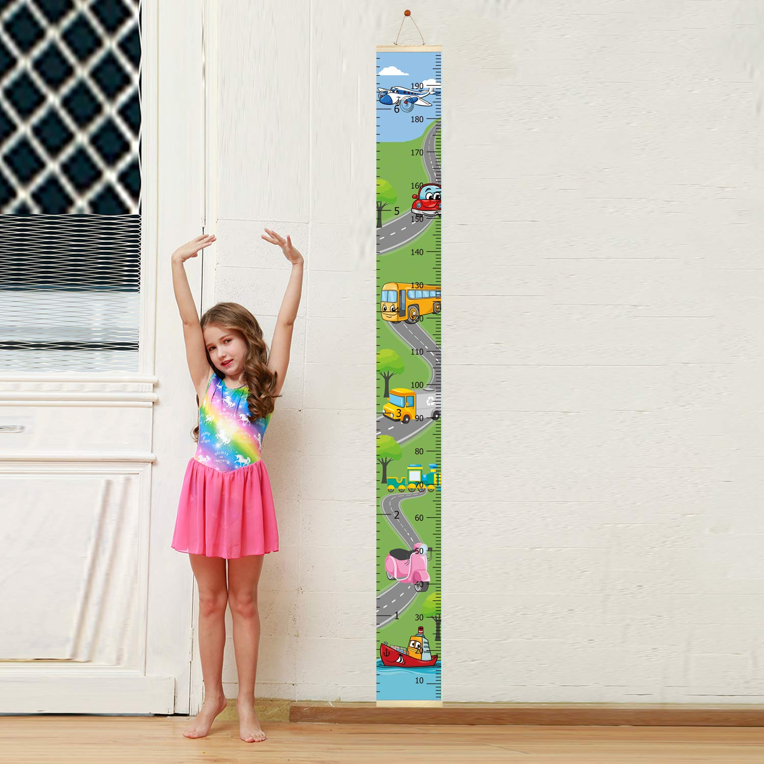 Wood Frame Canvas Roll Up Height Chart Wall Hanging Ruler for Kids Bedroom Nursery Wall Decoration Unique Baby Shower Gift 79x7.9 Baby Kids Growth Chart