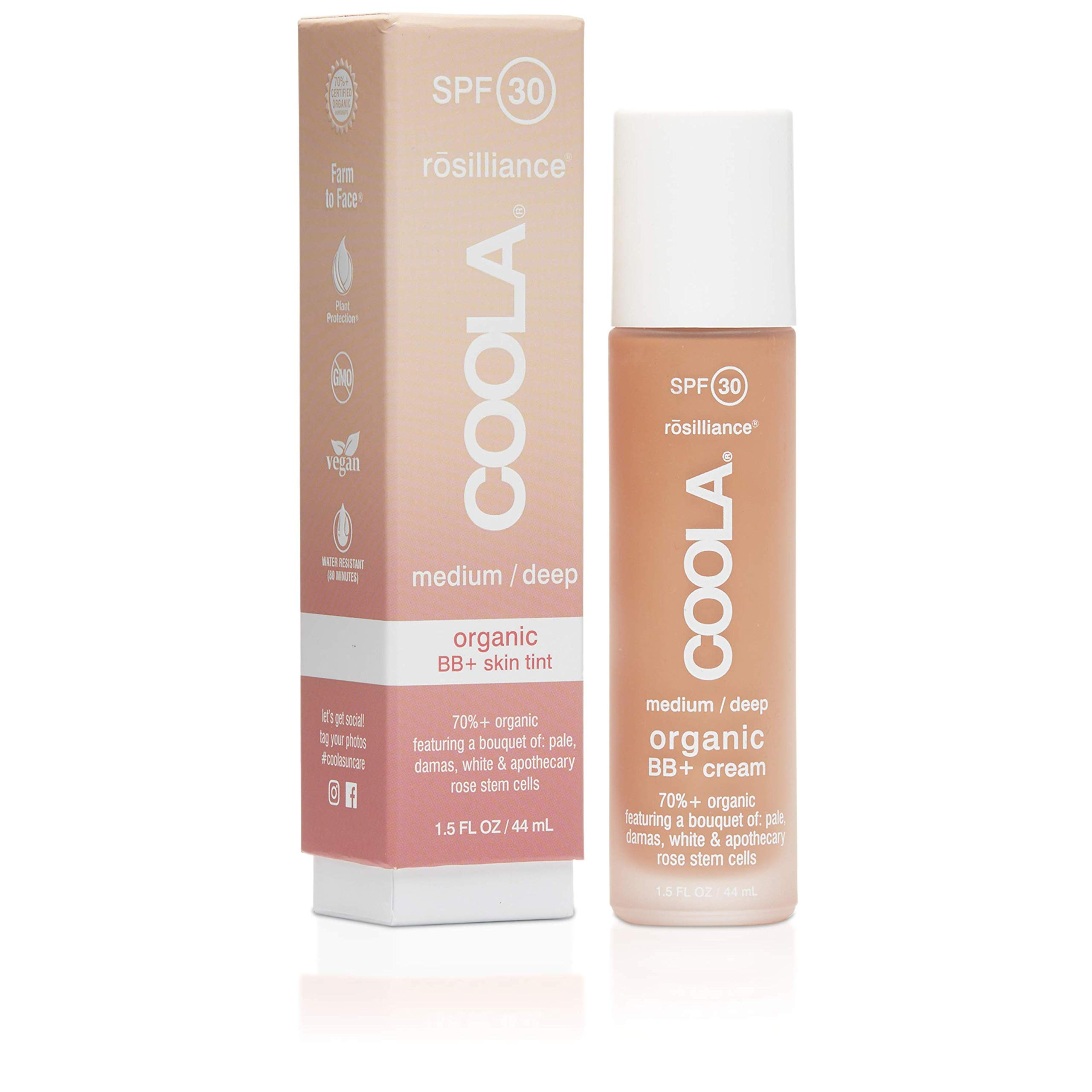 COOLA Rosilliance Mineral BB+ Cream Tinted Organic Sunscreen, Broad Spectrum SPF 30, Vegan, Water-Resistant, Ultra-Moisturizing, Antioxidant Enriched, Light Medium