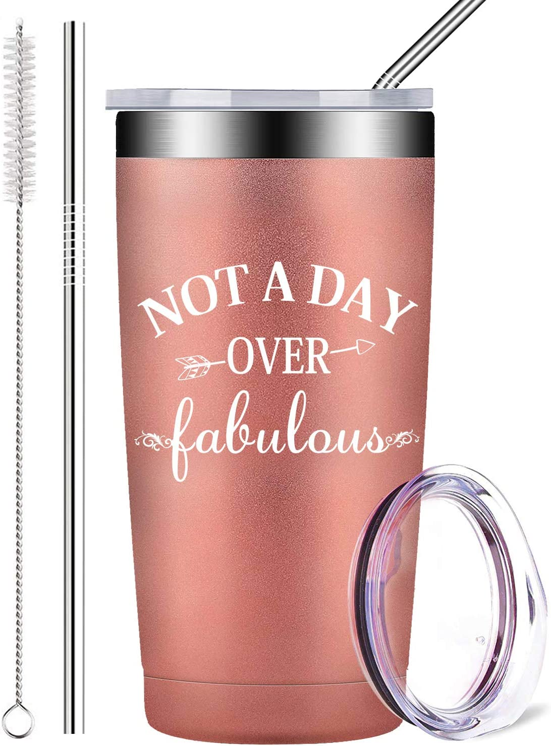 Not A Day Over Fabulous - Stainless Steel Insulated Mug Tumbler With Lid And Straw Wine Travel Cup - 30th 40th 50th 60th 65th 70th Birthday Gifts for Women, Sister, Her Best Friend (20 Oz, Rose Gold)