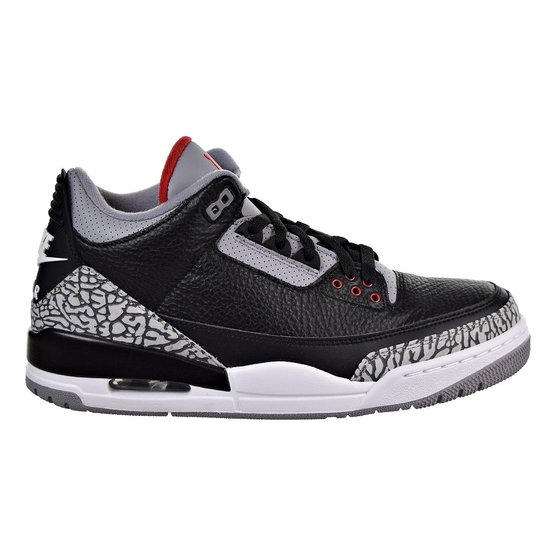 Nike Air Jordan 3 Retro Schwarz Zement Schuhe in Grau und Schwarz Leder 854262-001  12.5