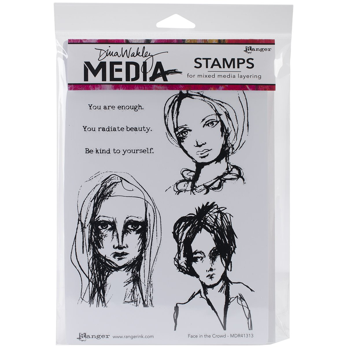 Ranger Dina Wakley Media Cling Stamps, 6 by 9-Inch, Face In The Crowd MDR-41313
