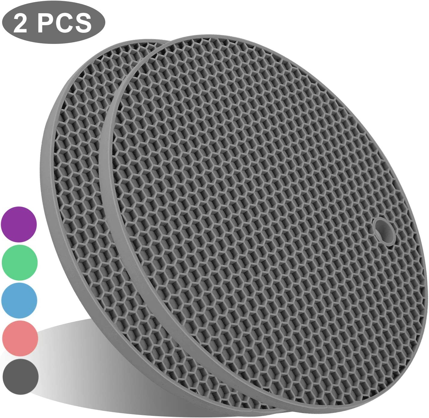 UXUNNY Silicone Pot Holders, Trivets for Hot Dishes - Thick Hot Pads for Kitchen, Heat Resistant Trivet Mats, Oven Pads, Hot Mats for Hot Pots and Pans - Christmas Decor (Gray, 2 PSC)