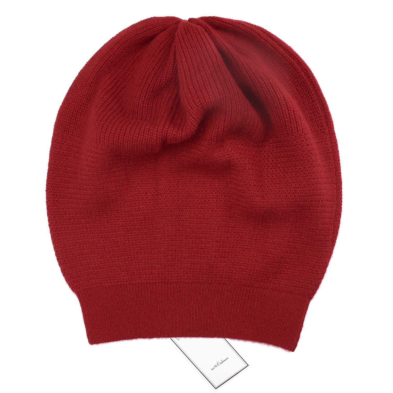 Burgundy WaySoft Women 100% Cashmere Beanie Hat