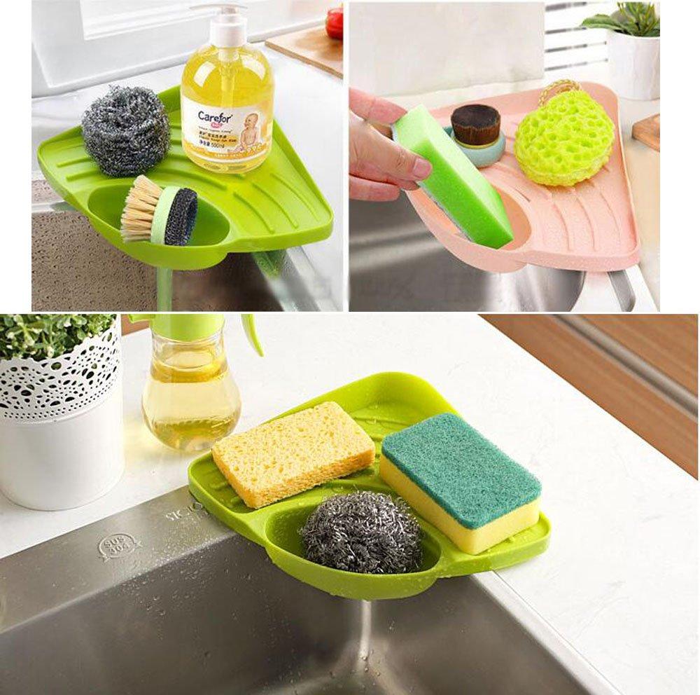 amazoncom kitchen sink caddy sponge holder scratcher holder cleaning brush holder sink organizer green