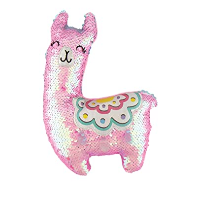 Fashion Angels Magic Sequin Llama Decorative Plush (77492) Llama Stuffed Animal with Reversible Sequins, Pink: Toys & Games