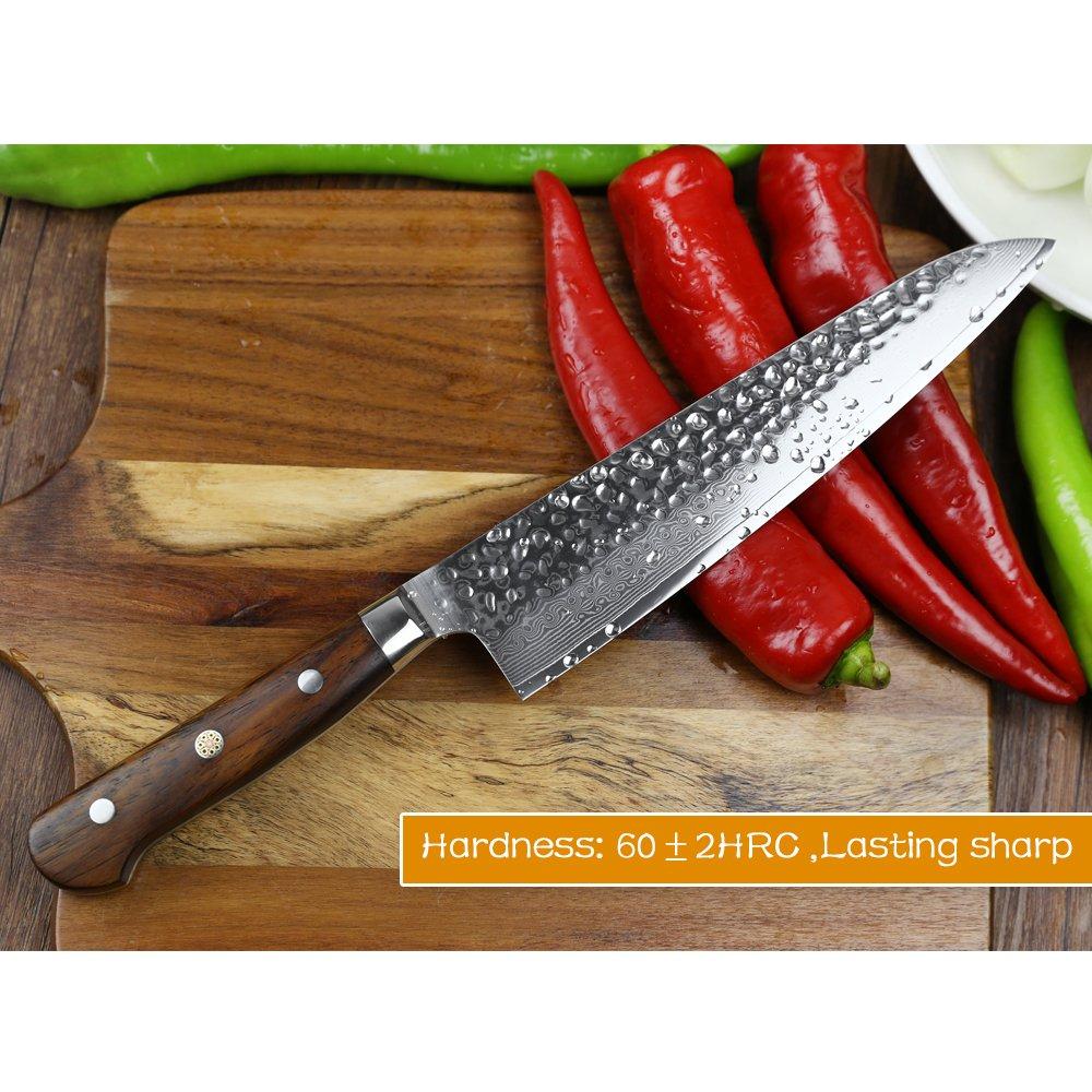 XINZUO Set Cuchillo Cocina 4 Piezas Damasco Japonés 67 Capas Profesional  Cuchillo Chef 21cm Cuchillo Santoku ... 61862f562aff