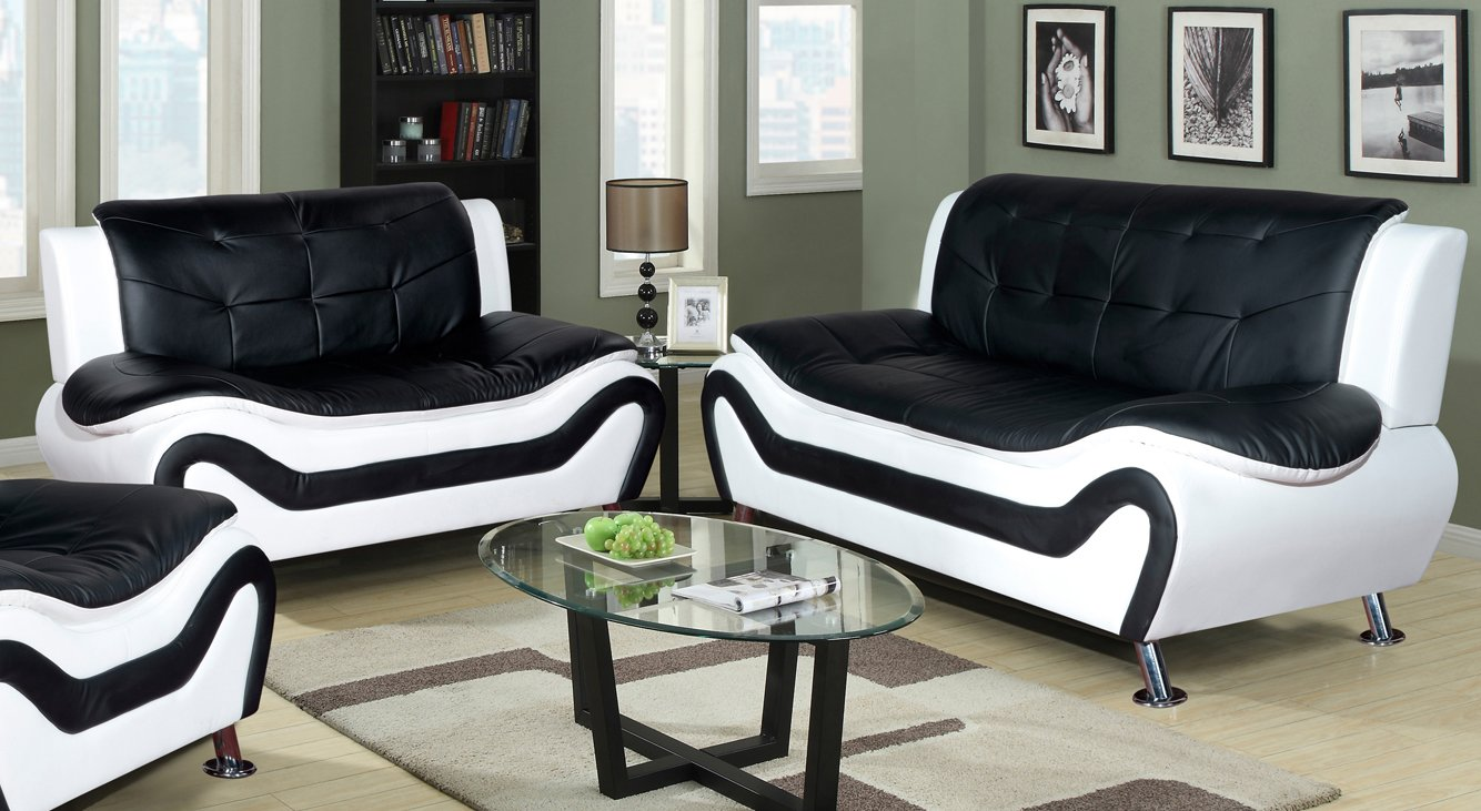 Beverly Fine Furniture F4501-2pc 2 Piece Aldo Modern Sofa Set, Black & White