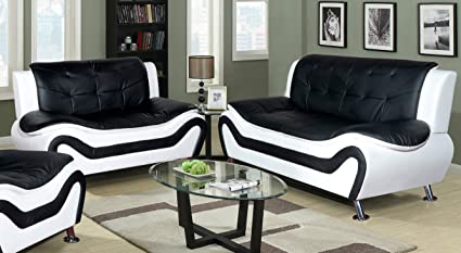 Bon Beverly Fine Furniture F4501 2pc 2 Piece Aldo Modern Sofa Set, Black And  White