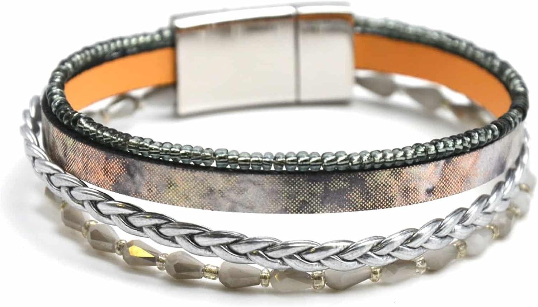BC1315F-Pulsera volantes varias vueltas de piel y perlas con cristales, color Gris brillante trenza-modo de fantasía