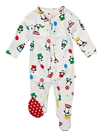 c18305dcb776 Piccalilly Organic Cotton Multicoloured Unisex Baby Penguin Footed ...