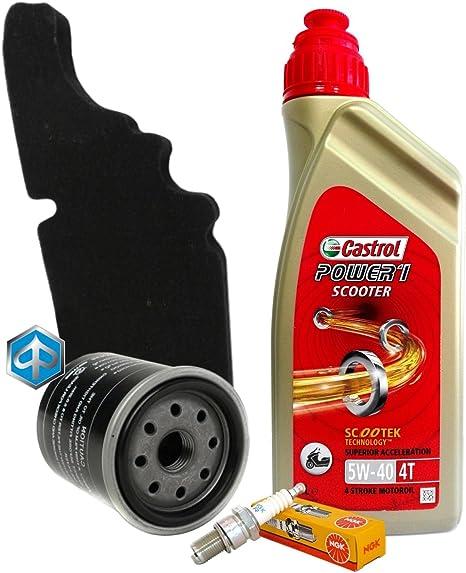 Wartungskit Castrol 5 W40 Filter Öl Luft Piaggio 82635r 843194 Kerze Cr7eb Auto