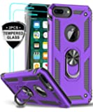 iPhone 8 Plus Case, iPhone 7 Plus Case, iPhone 6 Plus Case with Tempered Glass Screen Protector [2Pack], LeYi Military Grade Phone Case with Rotating Holder Kickstand for Apple iPhone 6s Plus, Purple