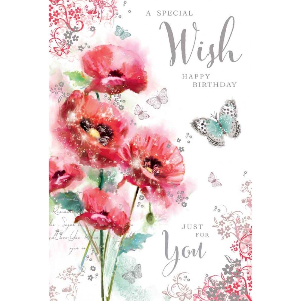 Greeting Card Jj9531 Female Birthday A Special Wish Poppies