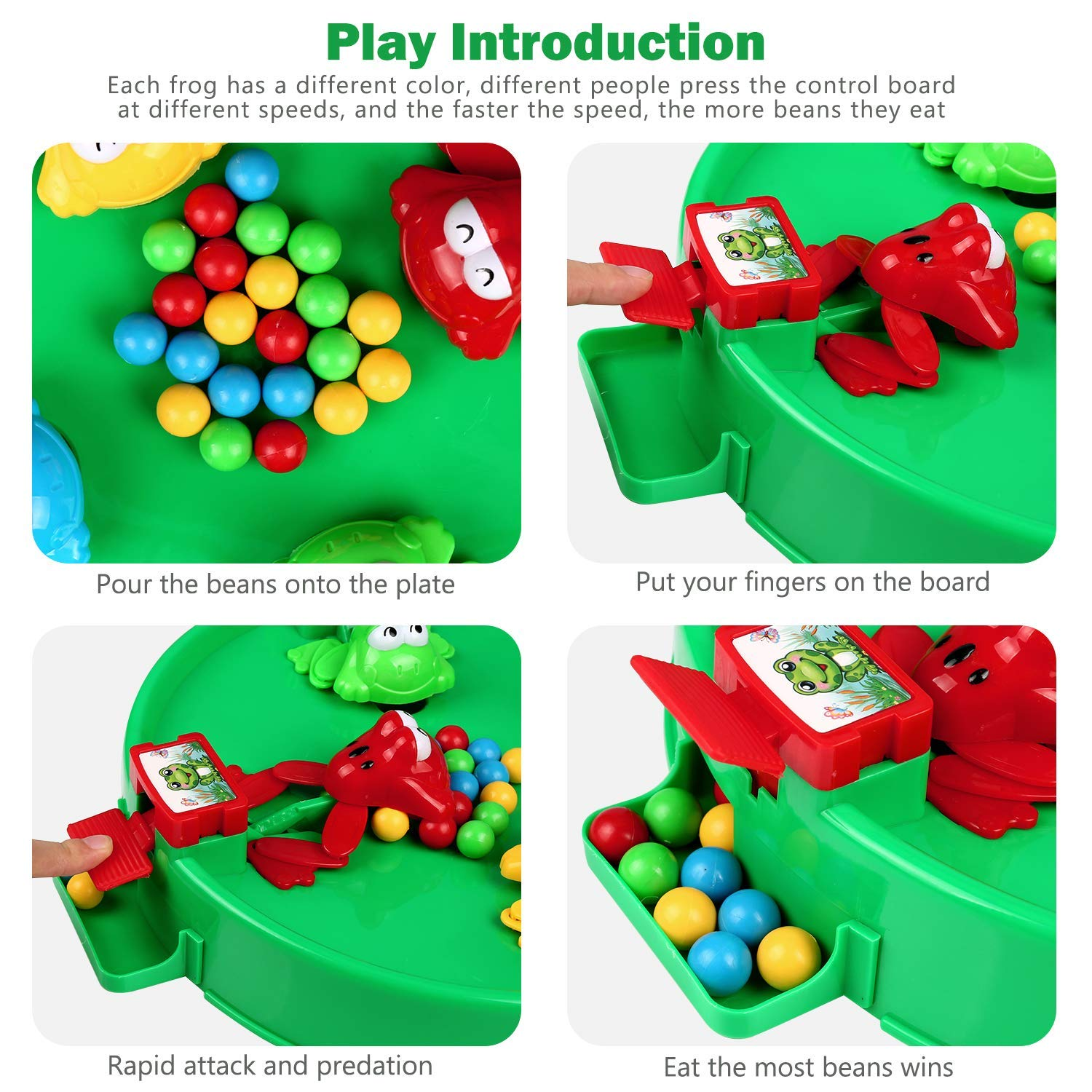 Xiaodaxia Hungry Frog Eating Beans Beads Board Table Game Interactive Educational Toy