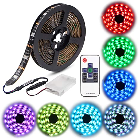 WOWLED 2M Waterproof 5050 RGB Multicolor LED Flexible Light Strip Battery for TV