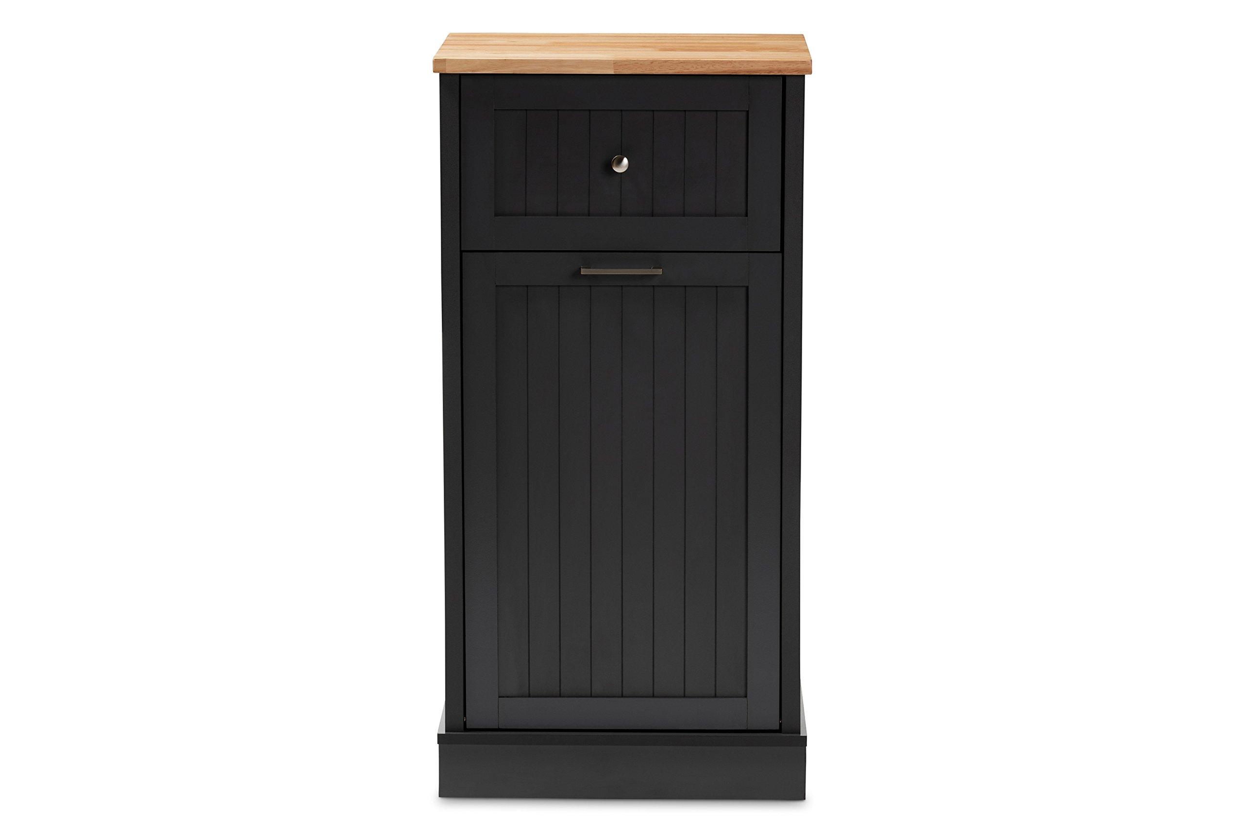 Baxton Studio Monica Kitchen Cabinet, Dark Grey/Oak Brown