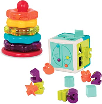 Battat – Stacking Rings + Shape Sorter Cube Bundle – Learning Toys for Kids Age 1 & Up (20 Pc)
