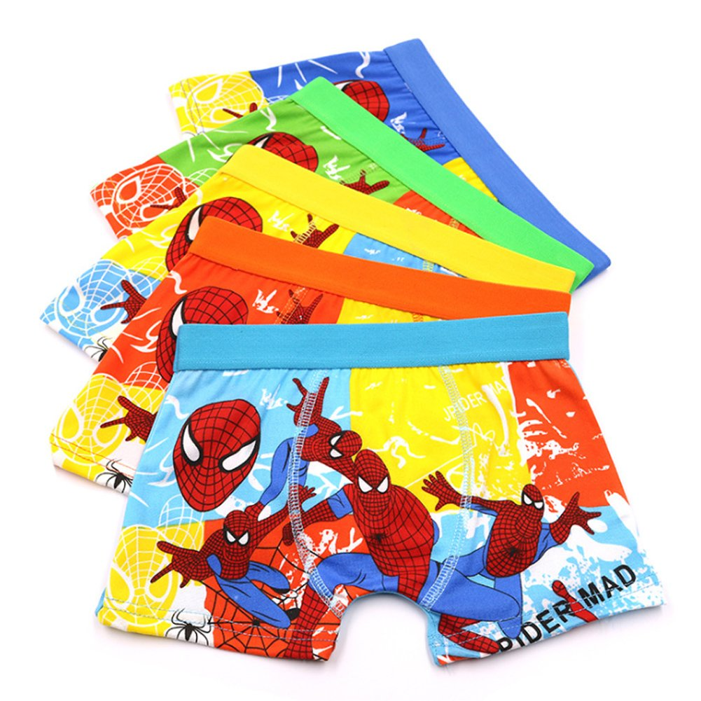 YUMILY 3-8 Years Boys Spiderman Boxer Briefs Cotton Character Underwear, 5 Pack CAETNK1706061