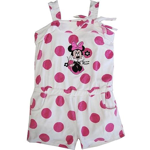 ffb5e00e0fb Disney Little Girls Pink White Dot Minnie Mouse Towel Throw On Romper (5)