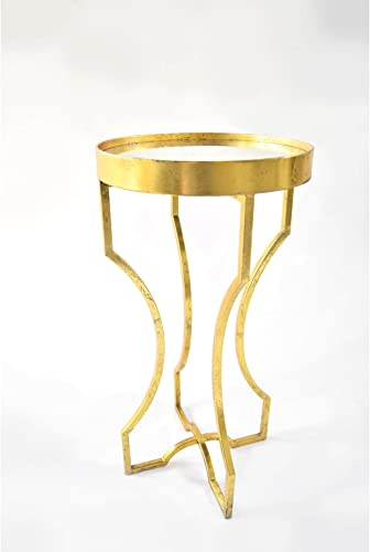 Four-Legged Occasional Accent Table with an Antiqued Mirror Top in Gold Leaf Finish