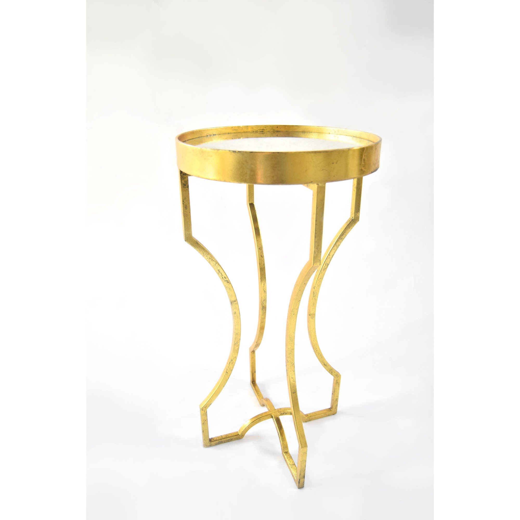 Mid-Century Hour Glass Mirror Top Accent Table; Gold Leafed