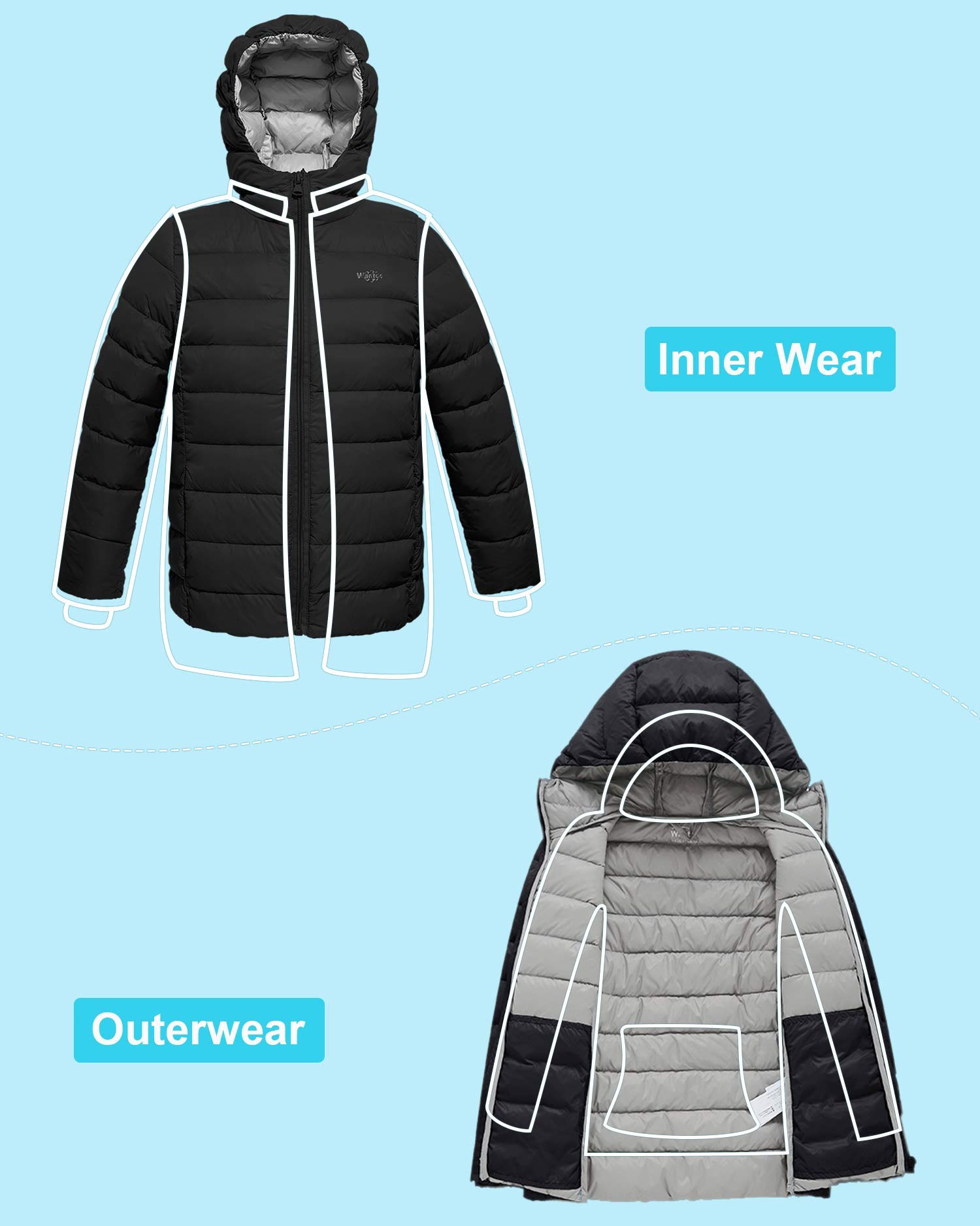 Wantdo Boy's Lightweight Puffer Down Jacket with Hood Packable Outdoors Wind Breaker(Black, 10/12) by Wantdo (Image #6)