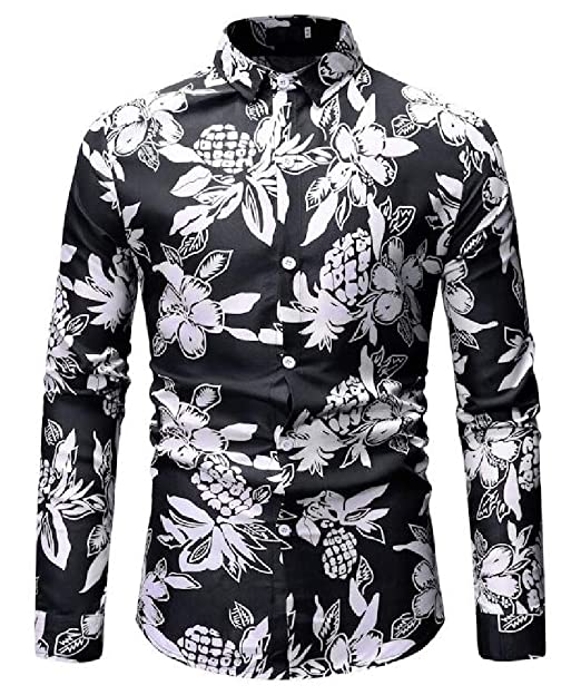 870d6b0544e1e3 Hmarkt Mens Long Sleeve Non-Iron Buttons Simple Casual Slim Fit Floral  Print Lapel Shirts at Amazon Men's Clothing store: