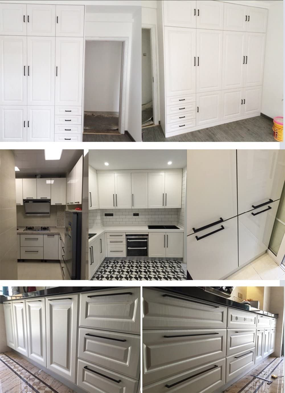 cocina Tiradores de acero inoxidable con dise/ño cuadrado cajones LSJ12BK para muebles color negro armarios