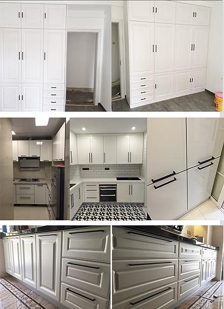 Tiradores de acero inoxidable con diseño cuadrado, color negro, para muebles, cocina, armarios, cajones, LSJ12BK: Amazon.es: Bricolaje y herramientas