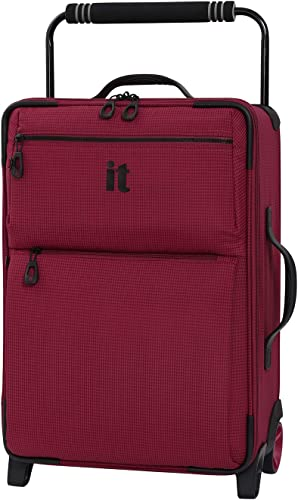 IT Luggage 21.8 World s Lightest Los Angeles 2 Wheel Carry On, Persian Red, One Size