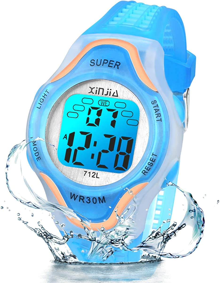 Reloj Digital para Niños Niña,Luz Intermitente LED de 7 Colores Reloj de Pulsera Niña Multifunción con Pantalla Impermeable para. Reloj Deportivo Digital para niños,para Niños de 3 a 15 años.