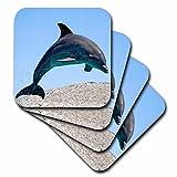 3dRose Bottlenose Dolphin-Soft Coasters, Set of 4