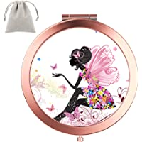 Dynippy Compact Mirror Round Rose Gold Makeup Mirror Folding Mini Pocket Mirror Portable Hand Mirror Double-Sided with 2…