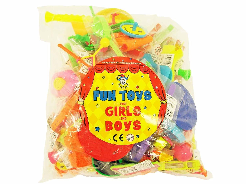 Juguetes y accesorios para bolsas de cumpleaños o piñatas, 100 unidades para Niños y Niñas. Partyrama T65-143-HNB