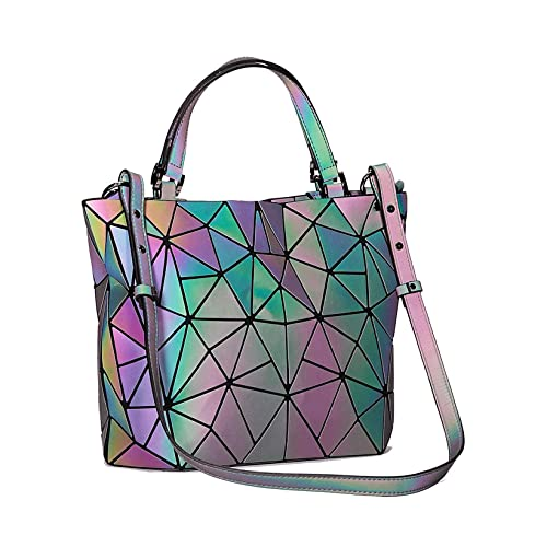 b6096adebc Geometric Luminous Purse and Handbags for Women Holographic Bag Top-Handle  with Zipper Closure Messenger