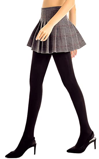 61c9b5f7575 DORALLURE Semi Opaque Tights for Women Control Top Pantyhose Run Resistant  Footed Hosiery at Amazon Women s Clothing store