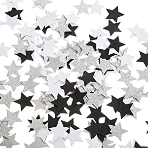 Black and White Glitter Silver Paper Twinkle Little Stars Confetti Wedding Birthday Theme Party Favors Table Scatter Decorations, 1.2 inch, 200pc