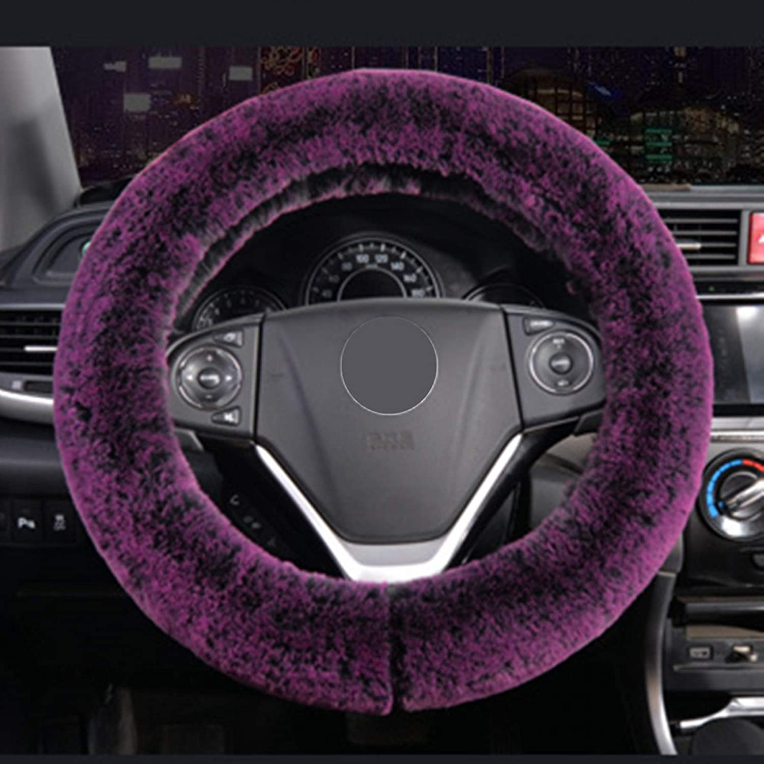 YOOFER Fluffy Plush Steering Wheel Cover for Warm in Winter Fuzzy Steering Wheel Cover,Purple Fluff Universal 15 inches