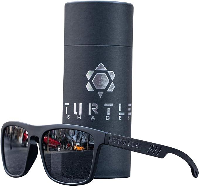 Amazon.com: Turtle Wooden Sunglasses Black Mirror Lenses Ebony Wood Sunglasses Polarized for Men Women 100% UV Protection: Clothing