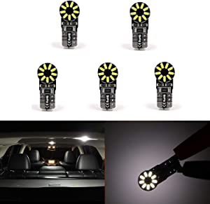 5 Pcs T10 Wedge Super Bright 3014 18-SMD 158 194 168 2825 W5W W5WLL 175 161 159 152 147 White LED Bulb Lamp for Car Truck Interior Dome Map Door Courtesy License Plate Lights … (5)