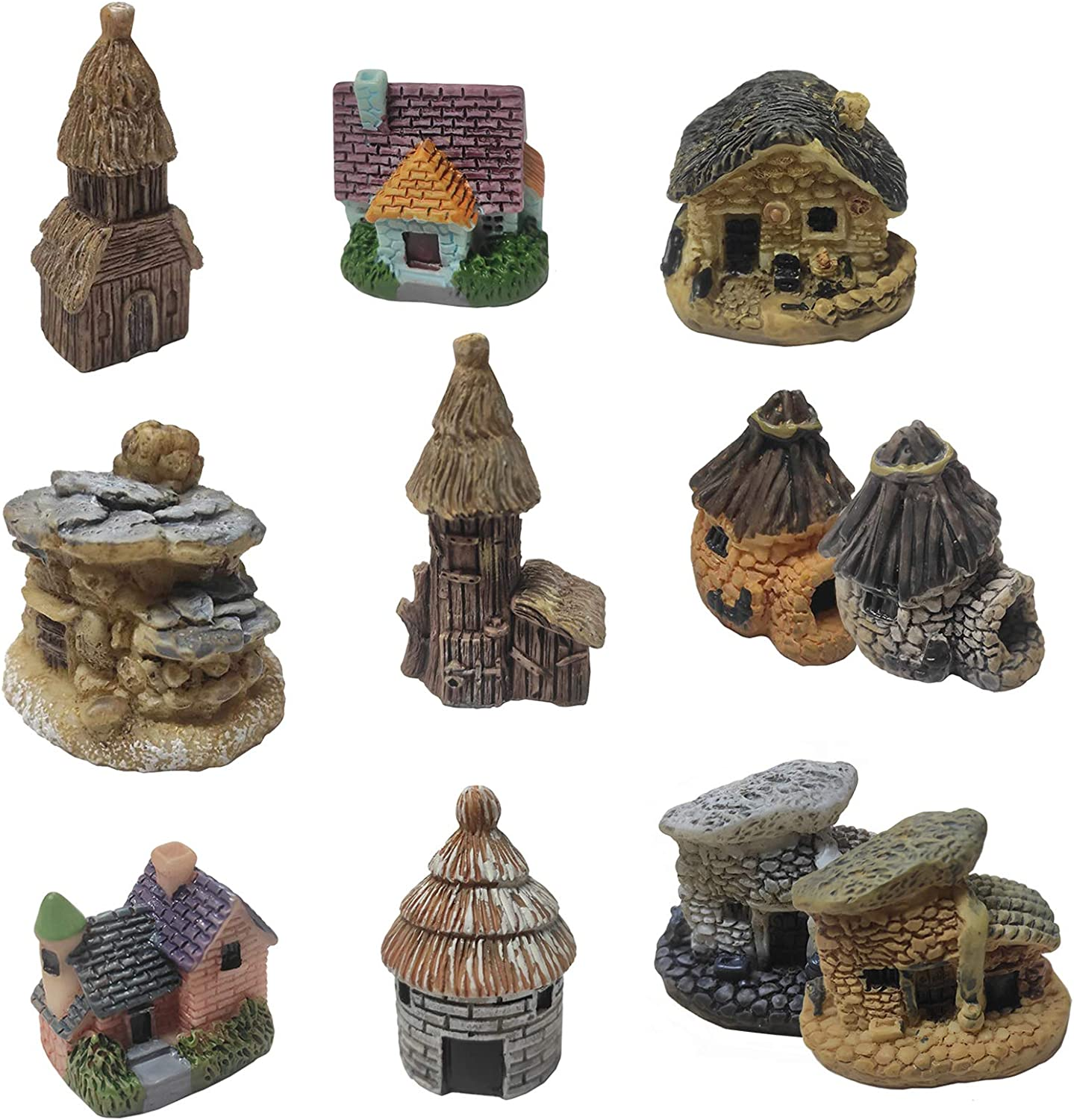 Miniature Fairy Garden House - Miniature Garden Decorations Fairy Houses For Gardens, Mini Fairy Cottage House For Garden & Patio Micro Landscape Yard Bonsai Decoration - Miniature Garden House 9pcs