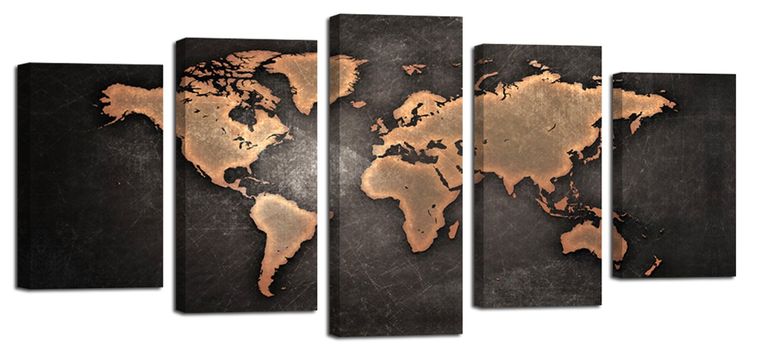 Ardemy Canvas Art Painting Antique Abstract World Map 5 Pieces Giclee Prints, Waterproof Artwork Picture Framed Ready to Hang for Living Room Bedroom Home Office Wall Decor