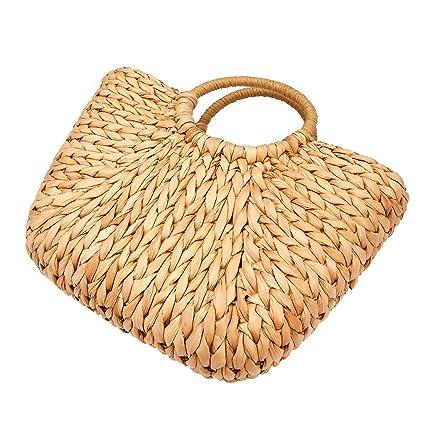 1a62c25e4530a BABAYD Mujer Paja Verano Playa Bolso Shopper Cesta Casual manija Bolsa Tote  para Viajes de Compras