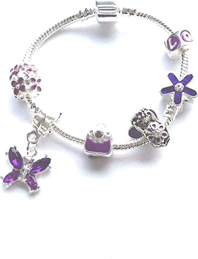 Liberty Charms Childrens Purple Fairy Silver Plated Charm Bracelet